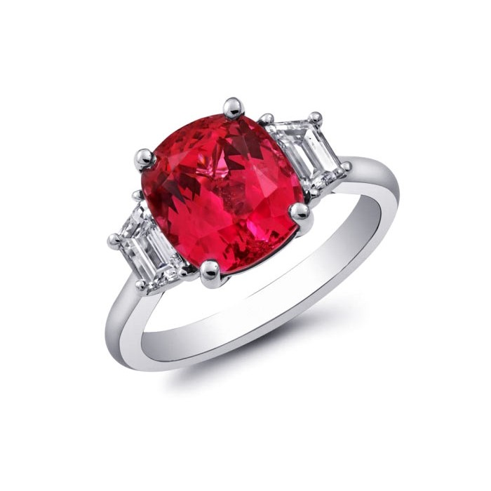 Red Spinel Engagement Ring
