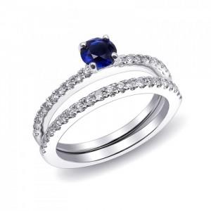 Elegant Sapphire Twin Ring