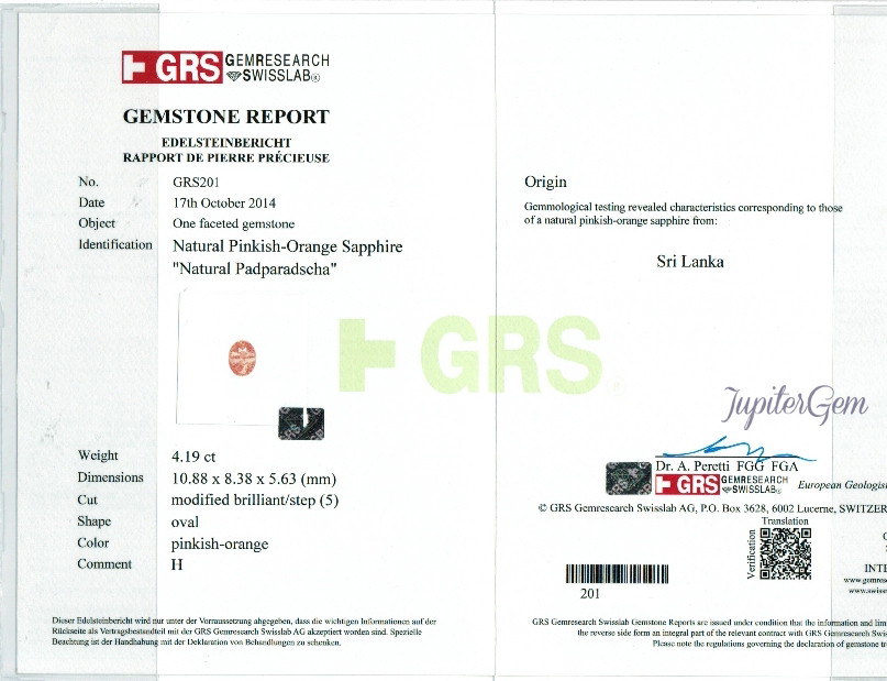 Sample GRS Certificate Gem