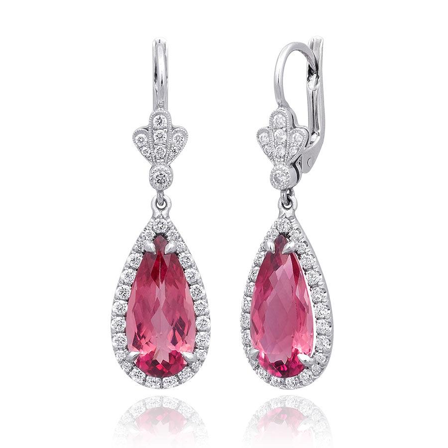 Natural Pink Tourmaline 5 91 Carats Set In Platinum Earrings With Diamonds Jupitergem