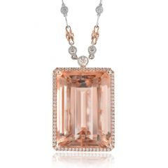 Natural Morganite 44.03 carats set in 14K Rose Gold Pendant with 1.36 carats Diamonds