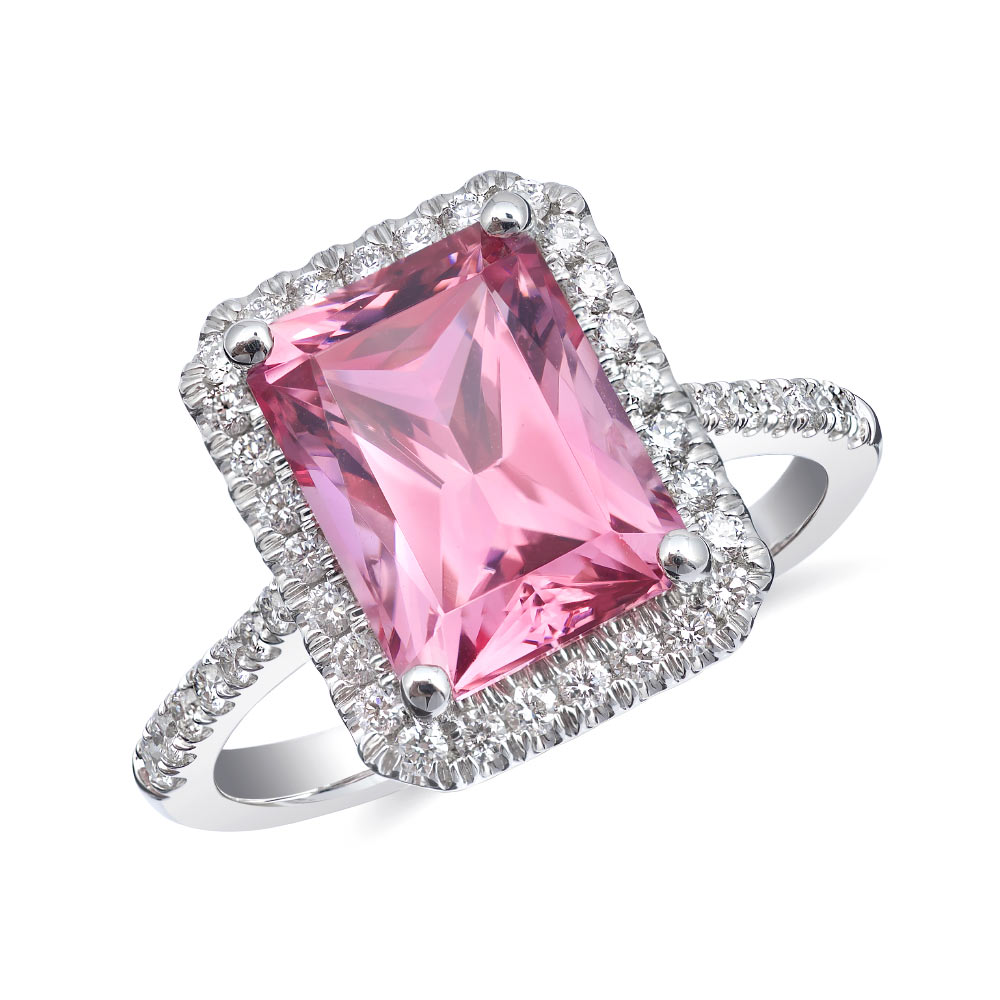 Natural Pink Spinel 3.64 carats set in 14K White Gold Ring with ...