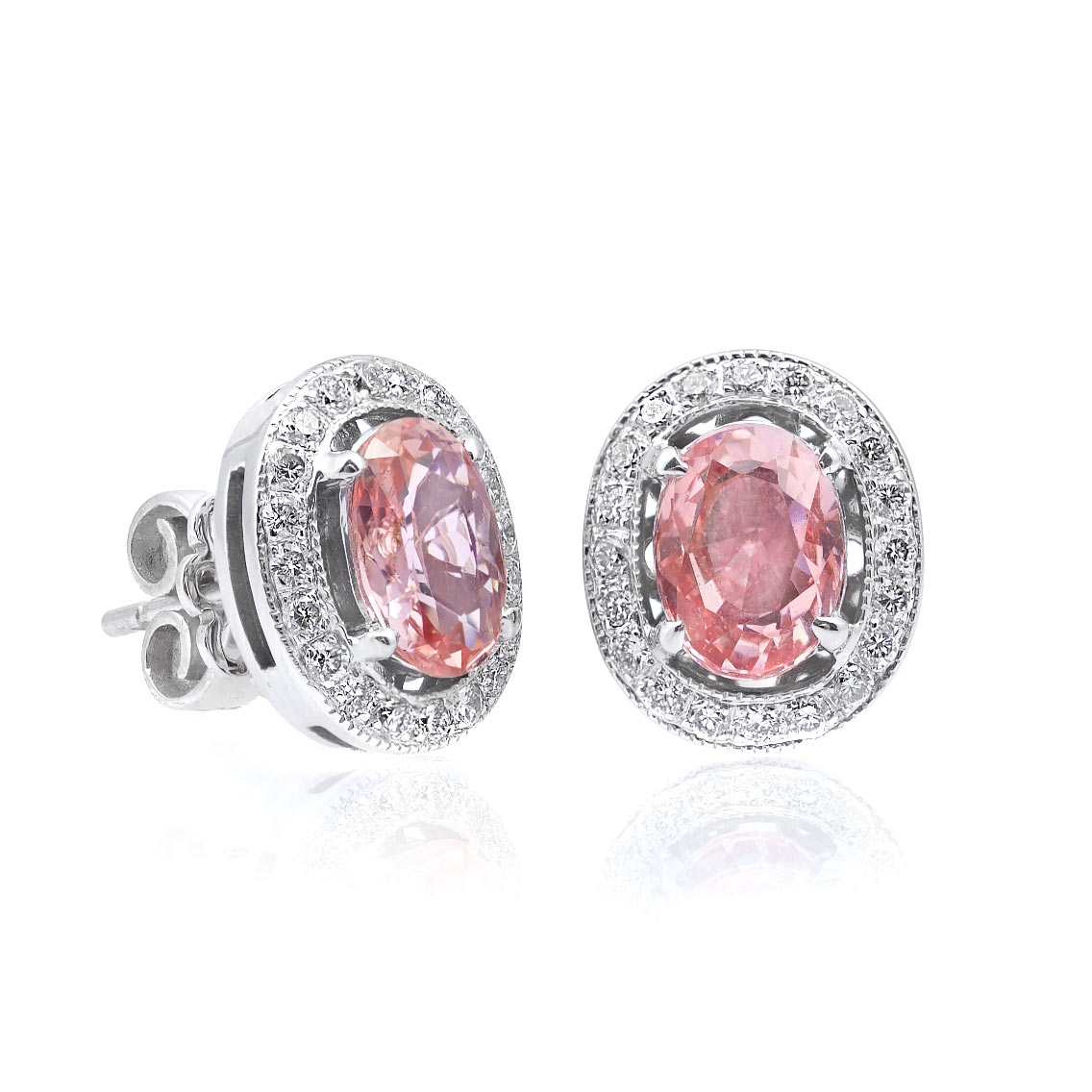 a products oval padparadscha diamond david and sapphire collections carat earrings